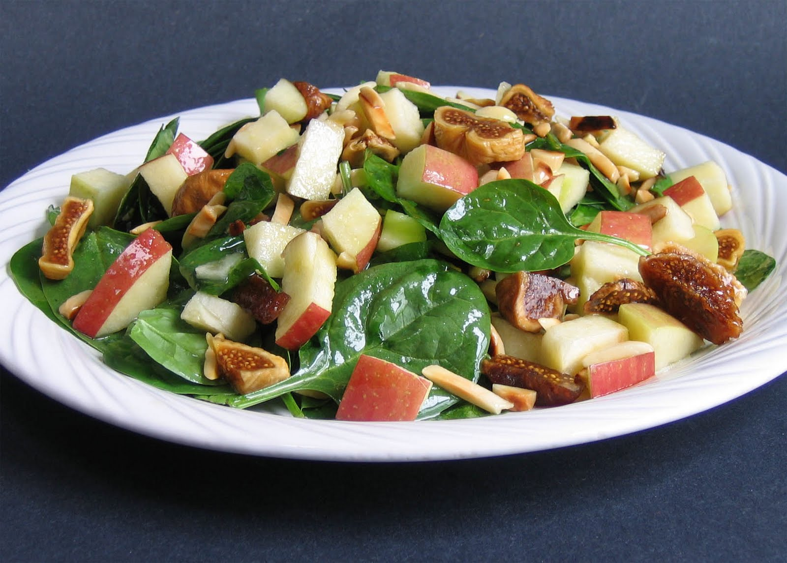 Spinach Salad with Almonds, Fuji Apple, and Figs