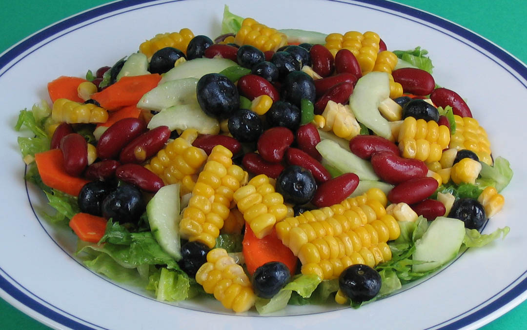 Corn and Blueberry Salad with Spicy Mango Dressing – Robin Robertson